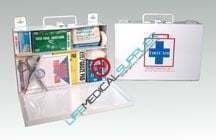 Metal-25 Person First Aid Kit w/supplies-0