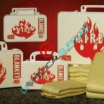 """Fire blanket with case 60"""" x 84"""" - Poly white-0"""