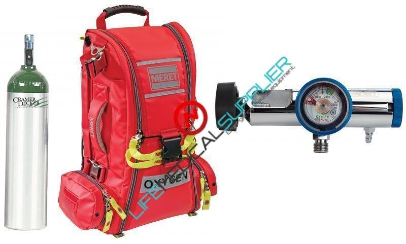 Meret EMS Oxygen BLS kit cylinder type D regulator 0-25lpm-0